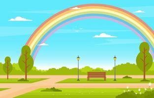 Summer Scene with Bench, Trees and Rainbow Illustration vector