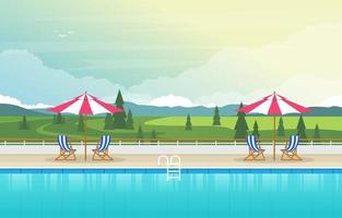 Hotel Outdoor Swimming Pool with View of Trees vector