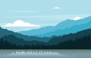 ilustración de paisaje de bosque de montaña tranquila vector