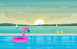 Hotel Outdoor Swimming Pool with View of Mountains vector