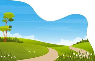 escena de verano con campo verde y cielo azul ilustración vector