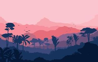 Calm Mountain Forest Landscape Illustration