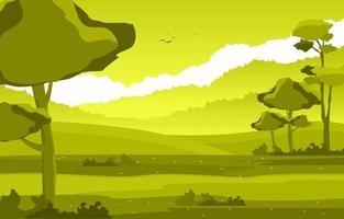 escena de verano con ilustración de campo y cielo vector