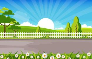 Summer Scene with Fence, Trees and Sun Illustration vector