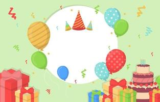 Happy Birthday Card with Confetti and Balloons vector
