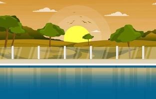 Hotel Outdoor Swimming Pool with View of Hills vector