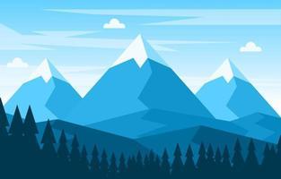 ilustración de escena de naturaleza de bosque de montaña tranquila vector