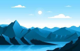 Calm Mountain Forest Landscape Illustration vector