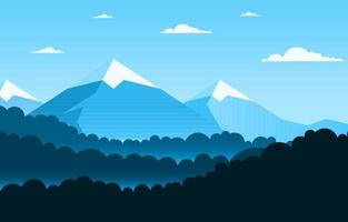 Calm Mountain Forest Nature Scene Illustration vector