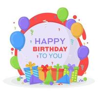 Happy Birthday Card with Gifts and Balloons vector