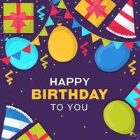 Happy Birthday Card with Confetti and Banners vector
