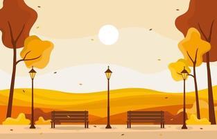 Escena del parque de otoño dorado con árboles, lámparas y bancos. vector
