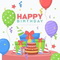 Happy Birthday Card with Cake, Gifts and Balloons vector