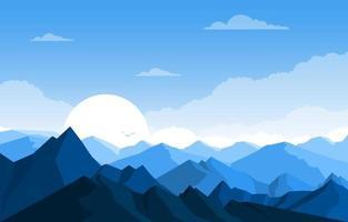 amanecer sobre ilustración de paisaje de bosque de montaña vector