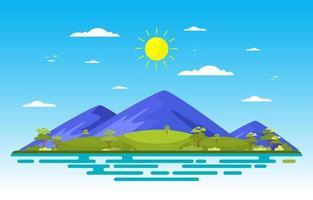 escena de verano con montañas y paisaje de campo verde ilustración