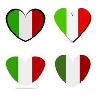 conjunto de corazón con bandera de italia vector