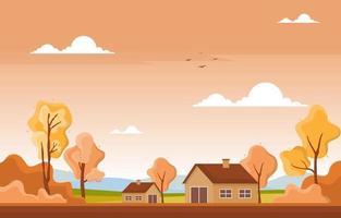 Escena del parque de otoño con árboles y casas. vector