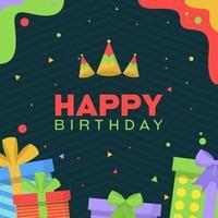 tarjeta de feliz cumpleaños con regalos y confeti vector