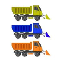 Set Of Snow Plow Trucks On White Background vector