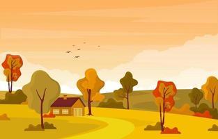 Escena del parque de otoño con árboles y casa. vector