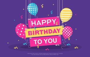 tarjeta de feliz cumpleaños con globos de fiesta y confeti vector