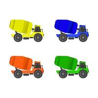 Set Of Cement Mixer On White Background
