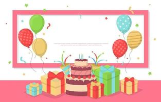 Happy Birthday Card with Balloons and Confetti vector