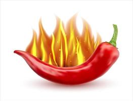 Flaming hot chili pepper. Burning red peppers icon, flamed spicy pepper pod. Free vector illustration.