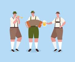 German man in traditional clothes with instruments for Oktoberfest celebration vector
