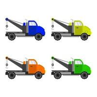 Set Of Tow Truck On White Background vector