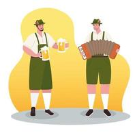 German men in traditional clothes for Oktoberfest celebration vector