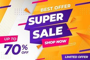 Super sale discount banner template promotion vector