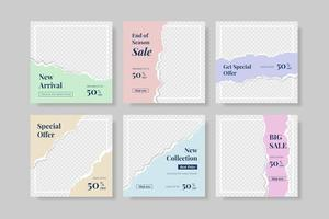 creative social media post template with torn paper style banner