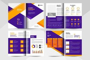 8 pages creative business brochure template. Corporate business booklet template. vector