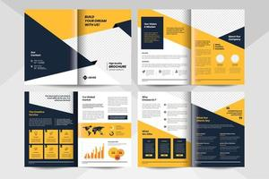 Yellow corporate business brochure template. Corporate business flyer template.