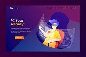 virtual realty landing page design template. vector illustration