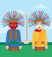 Traditional Jakarta Monas and Ondel Ondel