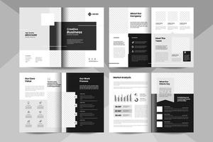 8 pages business brochure template. Corporate business booklet template. vector