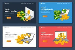 make money online banner landing page background design vector
