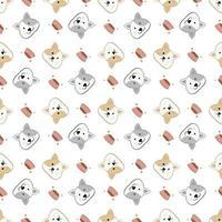 Seamless cute cat cartoon, cat pattern template for textile or background vector