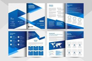 8 page corporate business brochure template in blue color. Corporate business flyer template. vector