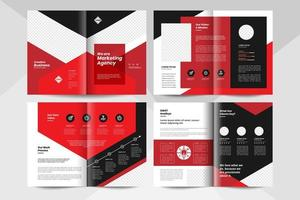 Black and red business brochure design template. Corporate business booklet template. vector