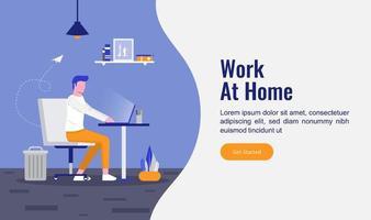 trabajar desde el concepto de página de inicio de inicio. hombre sentado en la silla y trabajando con su computadora portátil. vector