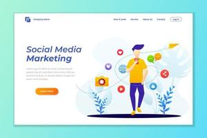 Landing page template of Social media marketing. Modern flat design concept of web page design