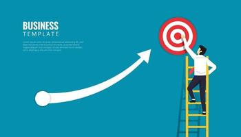 Business template design concept. Businessman character standing up on ladder with target symbol. Increase arrow aim to the dartboard vector illustration