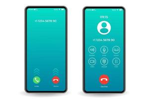 plantilla de interfaz de teléfono inteligente de pantalla de llamada vector