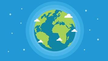 Earth globe vector flat style illustration