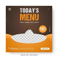 Food menu banner social media post. vector