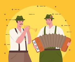 German men in traditional clothes with instruments for Oktoberfest celebration vector