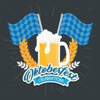banner de celebración oktoberfest con cerveza vector